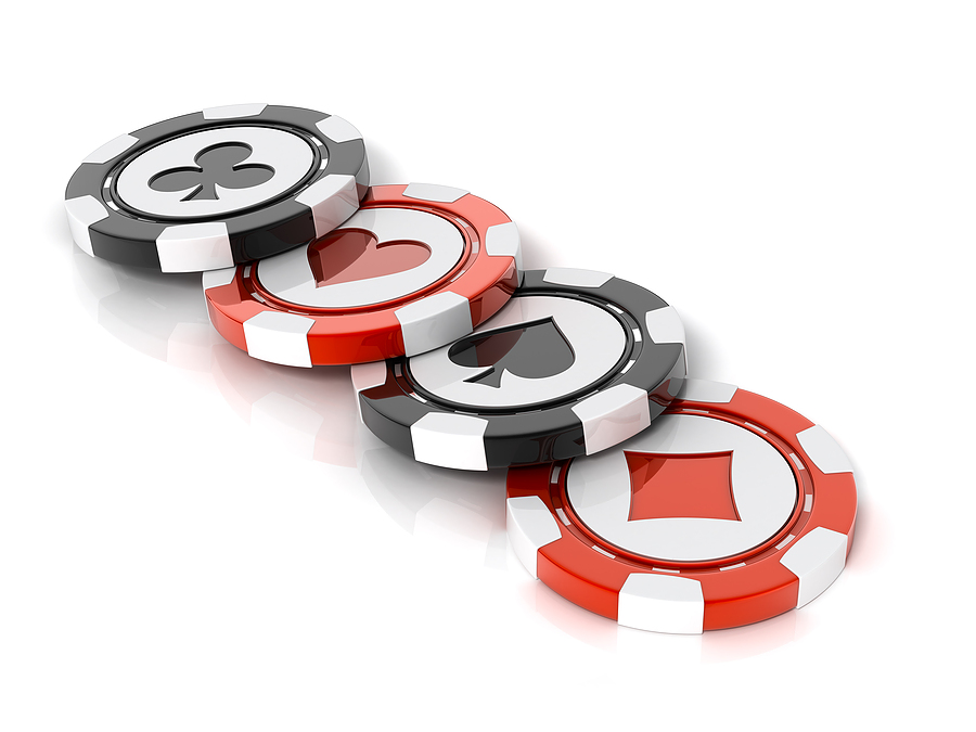 Casino chips over white backgr Pokerspelare